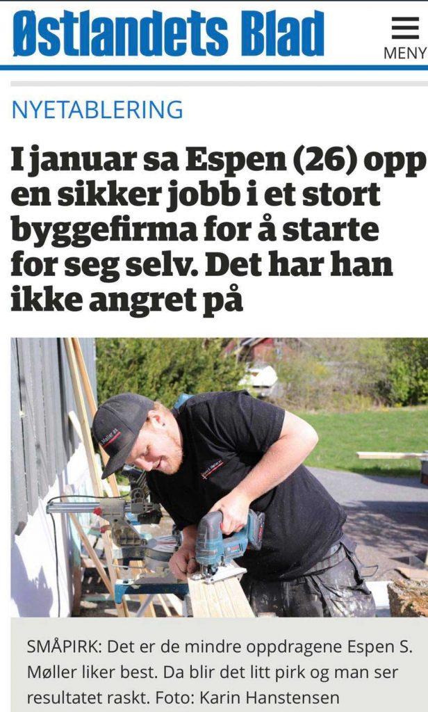 Espen S. Møller AS mediaoppslag Østlandets Blad mai 2020